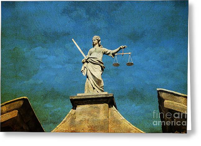 Jenny Rainbow Art Photography Greeting Cards - Lady Justice. Streets of Dublin. Painting Collection Greeting Card by Jenny Rainbow