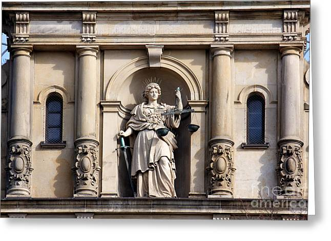 Discrimination Photographs Greeting Cards - Lady Justice with Scale and Sword Greeting Card by Jannis Werner