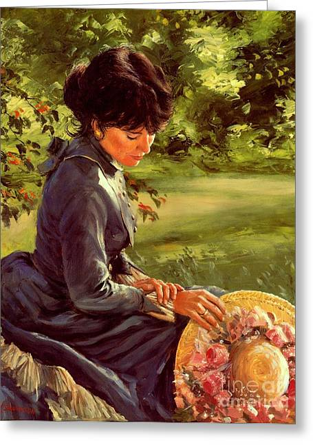 Women With Roses Greeting Cards - Lady Katherine Greeting Card by Michael Swanson