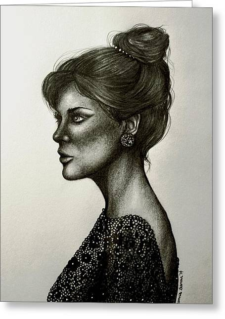 Updo Drawings Greeting Cards - Lady Lace Greeting Card by Bonnie Leeman