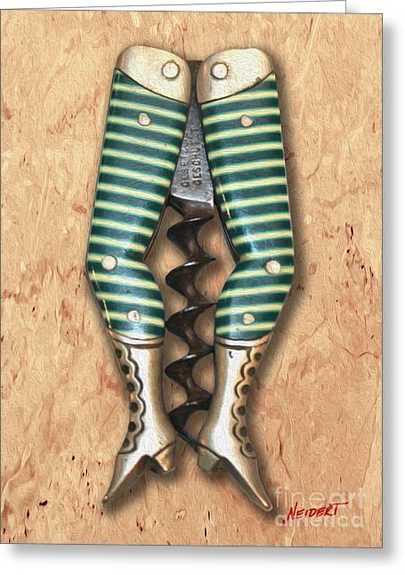 Red Wine Bottle Mixed Media Greeting Cards - Lady Legs Corkscrew Painting Greeting Card by Jon Neidert