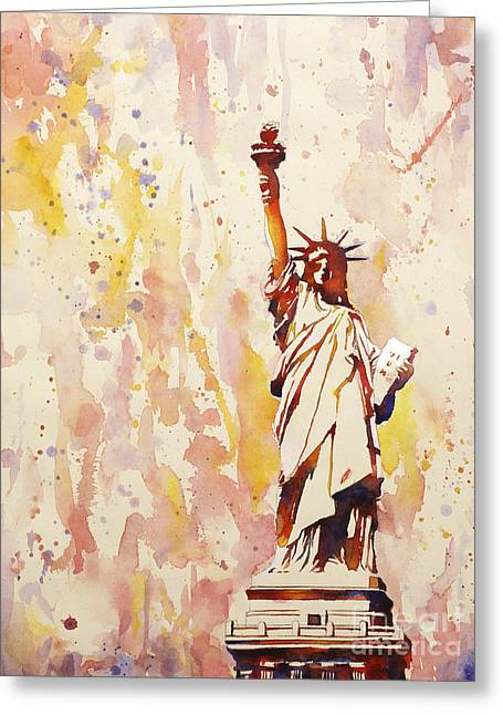 American Watercolor Society Greeting Cards - Lady Liberty 1 Greeting Card by Ryan Fox