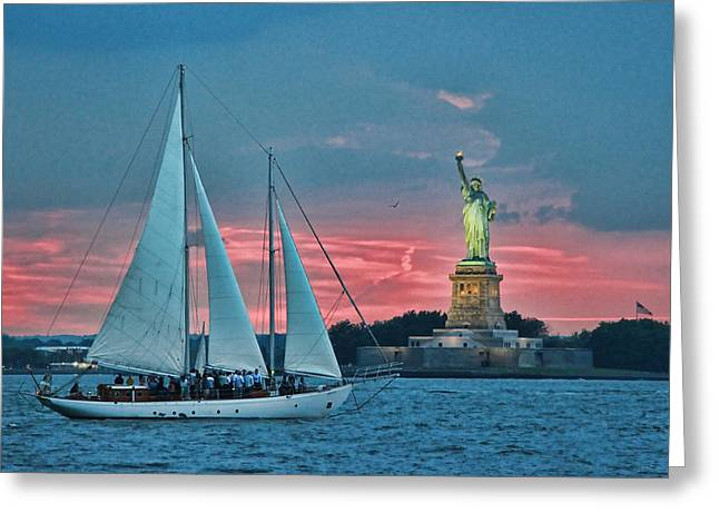 Blue Sailboats Greeting Cards - Lady Liberty 17 Greeting Card by Allen Beatty