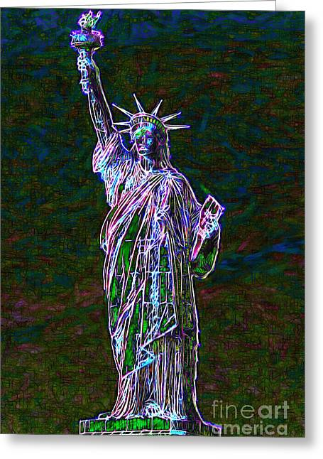 4th July Digital Art Greeting Cards - Lady Liberty 20130115 Greeting Card by Wingsdomain Art and Photography