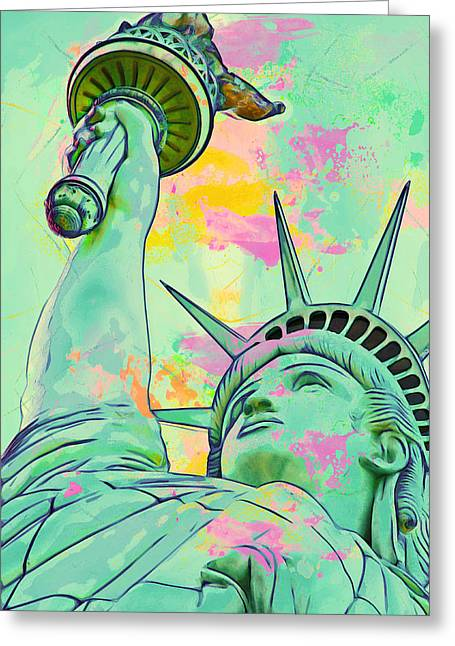 Motivational Poster Greeting Cards - Lady Liberty Greeting Card by Adam Asar