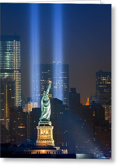 Terrorist Greeting Cards - Lady Liberty and the Tribute in lights Greeting Card by Betty Wiley