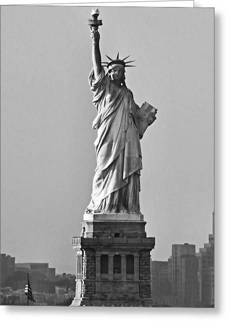 Torch Greeting Cards - Lady Liberty Black and White Greeting Card by Kristin Elmquist