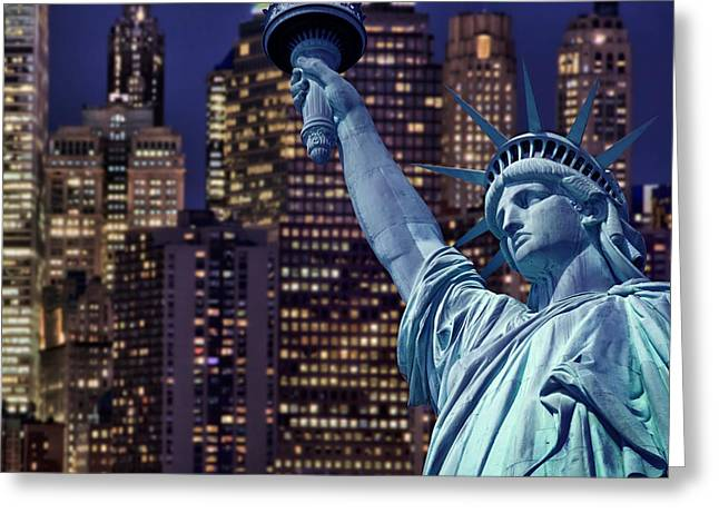 City Lights Digital Greeting Cards - Lady Liberty by night Greeting Card by Delphimages Photo Creations