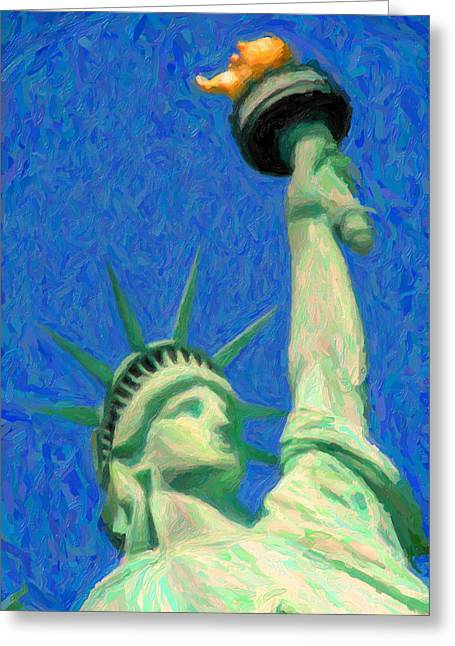 National Mixed Media Greeting Cards - Lady Liberty Greeting Card by Celestial Images