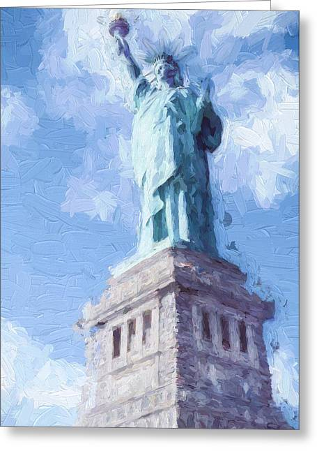 Ike Krieger Greeting Cards - Lady Liberty Greeting Card by Ike Krieger