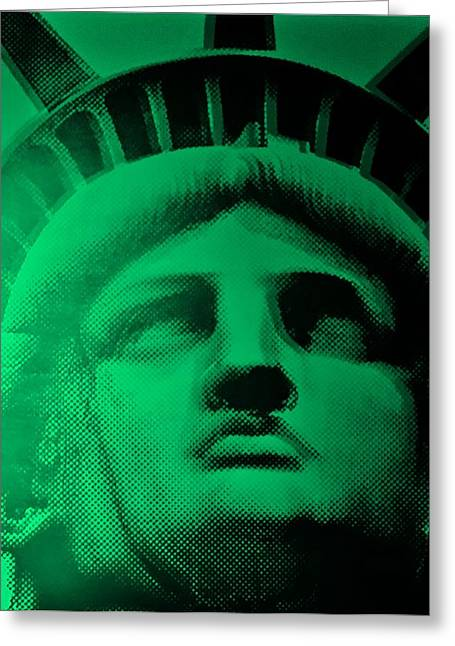 Statue Portrait Greeting Cards - LADY LIBERTY in COPPER GREEN Greeting Card by Rob Hans