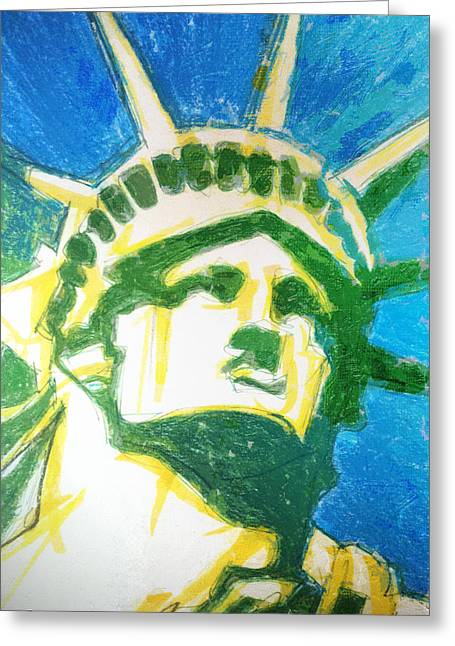 Lady Liberty Greeting Card by Jerrett Dornbusch