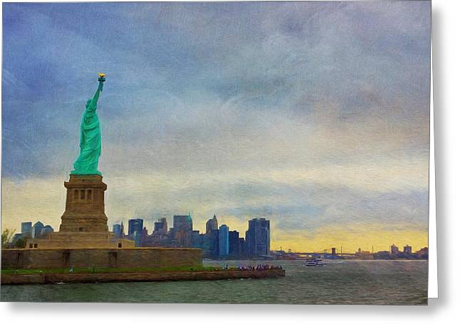 Patriotic Scenes Greeting Cards - Lady Liberty Greeting Card by Kim Hojnacki