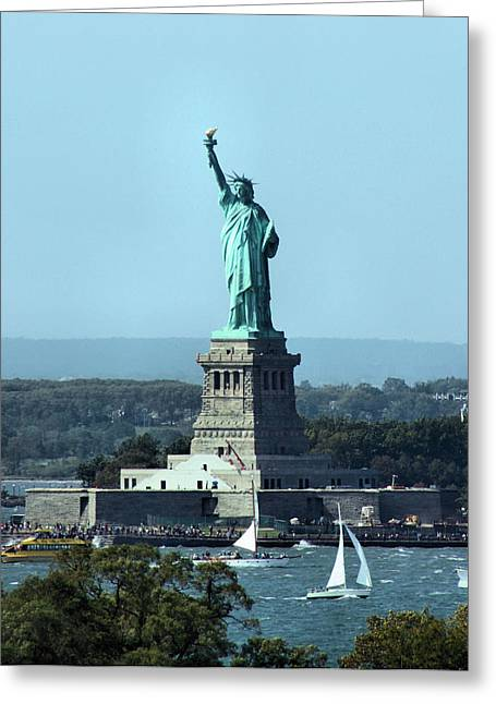 Sailboat Ocean Greeting Cards - Lady Liberty Greeting Card by Kristin Elmquist