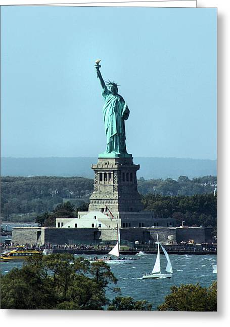 New York Manhattan Island Greeting Cards - Lady Liberty Greeting Card by Kristin Elmquist