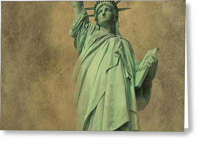 Lady Liberty New York Harbor Greeting Card by David Dehner