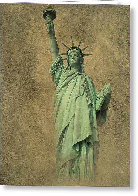 4th July Digital Greeting Cards - Lady Liberty New York Harbor Greeting Card by David Dehner