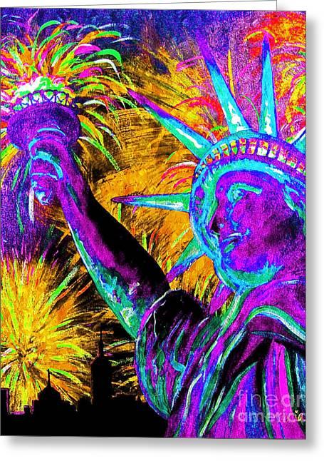 Lady Liberty Nyc Greeting Card by Teshia Art
