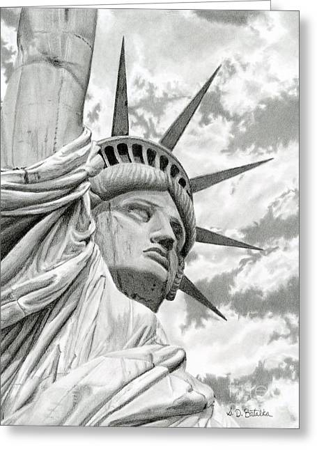 4th July Drawings Greeting Cards - Lady Liberty  Greeting Card by Sarah Batalka