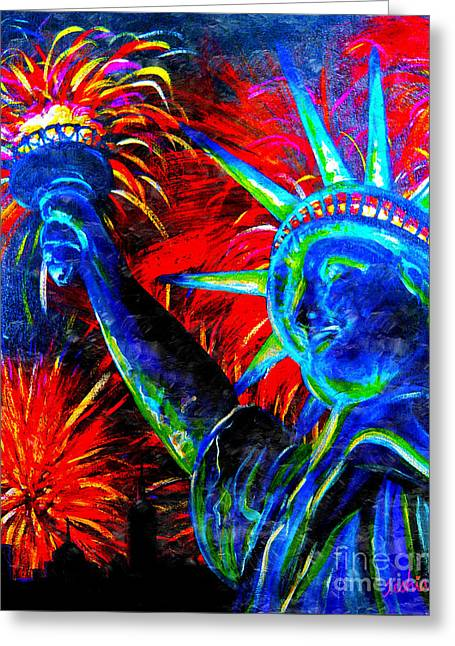 Best Sellers -  - 4th July Paintings Greeting Cards - Lady Liberty Greeting Card by Teshia Art