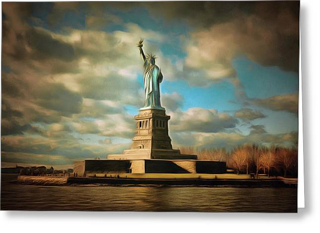Historic Statue Digital Art Greeting Cards - Lady Liberty The Statue- NYC Greeting Card by Georgiana Romanovna