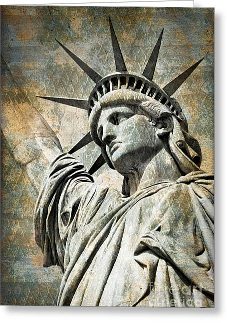 Statue Portrait Greeting Cards - Lady Liberty vintage Greeting Card by Delphimages Photo Creations