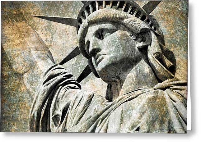 Lady Liberty vintage Greeting Card by Delphimages Photo Creations