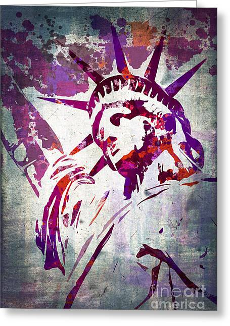 Statue Portrait Greeting Cards - Lady Liberty watercolor Greeting Card by Delphimages Photo Creations