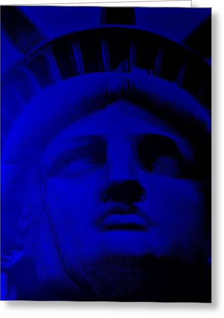 Statue Portrait Greeting Cards - LADY LIBERY in BLUE Greeting Card by Rob Hans