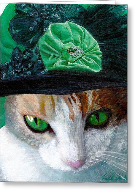 Sequin Greeting Cards - Lady Little Girl Cats In Hats Greeting Card by Michele  Avanti