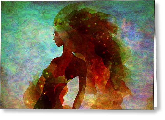 Abstract Digital Mixed Media Greeting Cards - Lady Mermaid  Greeting Card by Lilia D