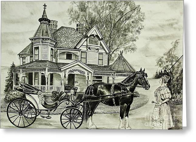 Horse And Buggy Drawings Greeting Cards - Lady N Waiting Greeting Card by Carolyn Valcourt
