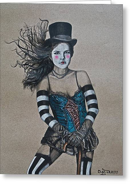 Beaded Skirt Greeting Cards - Lady of a Different Stripe Greeting Card by TP Dunn