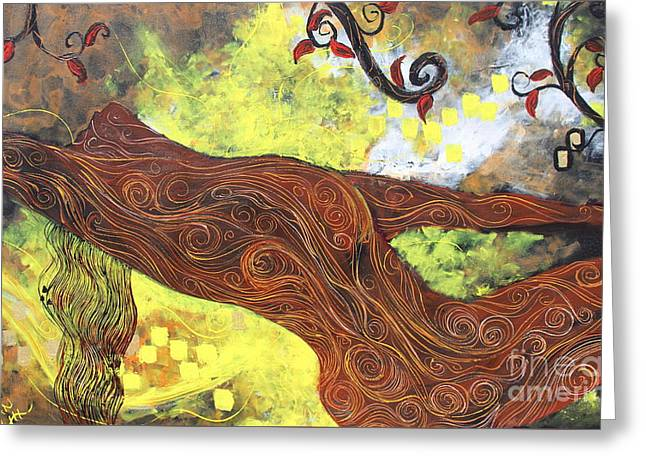 Squiggleism Greeting Cards - Lady Of Elation Greeting Card by Stefan Duncan