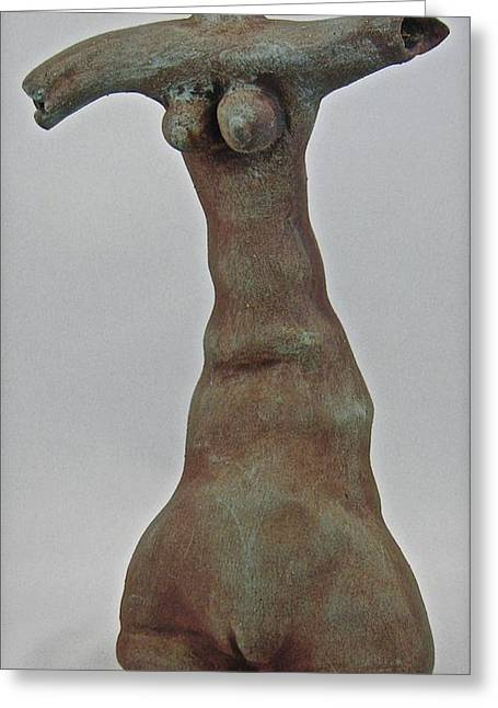 Figures Ceramics Greeting Cards - Lady of Fire Greeting Card by Mario Perron