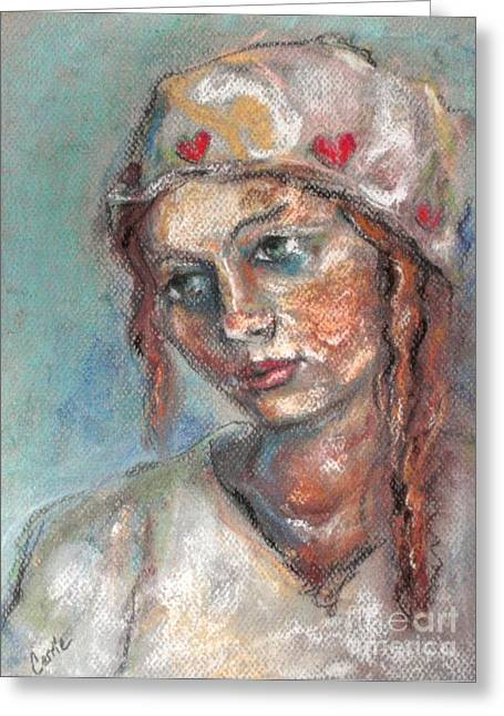 Carrie Joy Byrnes Greeting Cards - Lady of Hearts Greeting Card by Carrie Joy Byrnes
