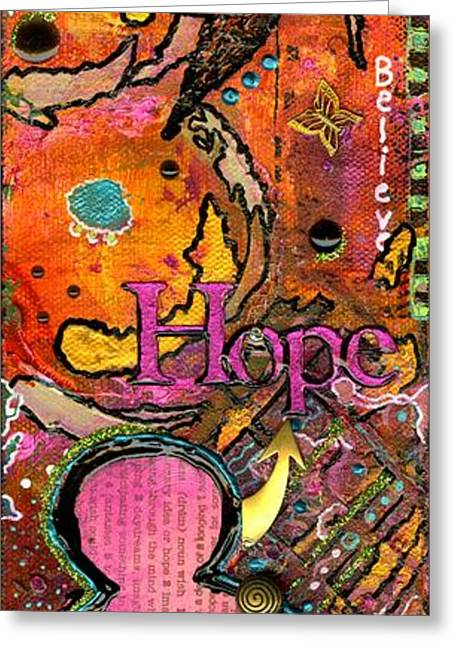 Survivor Art Greeting Cards - Lady of HOPE - A Breast Cancer Donation Greeting Card by Angela L Walker