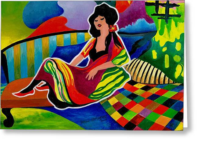 Chaise Paintings Greeting Cards - Lady of leisure Greeting Card by Val Stokes