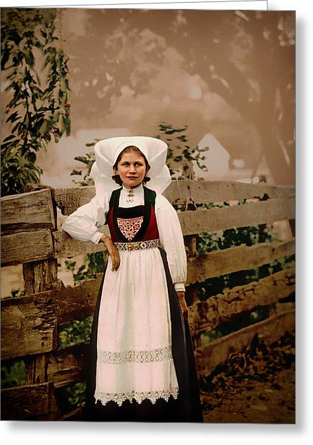 Long Ago Greeting Cards - Lady of Norway 1897 Greeting Card by Mountain Dreams
