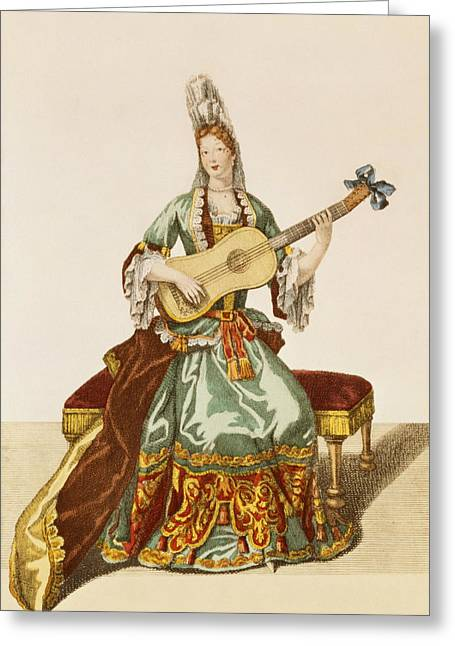 Lace Greeting Cards - Lady Of Quality Playing The Guitar Greeting Card by Nicolas Bonnart