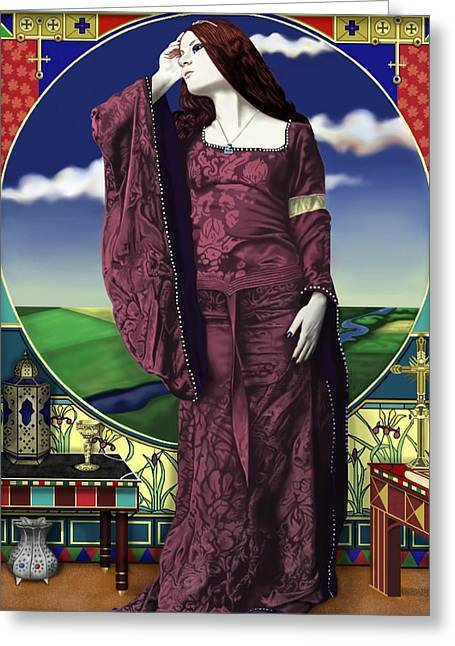 Woman In A Dress Greeting Cards - Lady of Shallot Greeting Card by Andrew Harrison