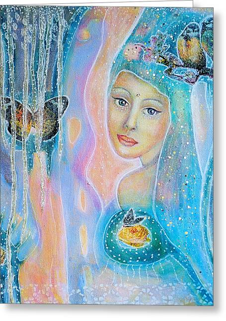 Gaia Mixed Media Greeting Cards - Lady of the dawn Greeting Card by Lila Violet