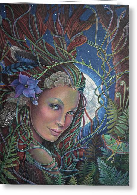 Forest At Night Greeting Cards - Lady of the Forest Greeting Card by Susan Helen Strok