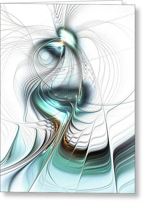 Blue Green Wave Mixed Media Greeting Cards - Lady of the Lake Greeting Card by Anastasiya Malakhova