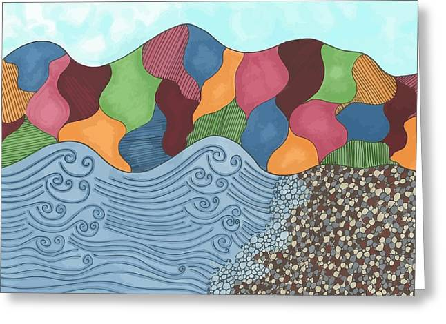 Abstract Beach Landscape Drawings Greeting Cards - Lady of the Lake Greeting Card by Jill Lenzmeier