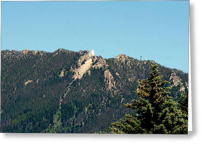 Virgin Mary Pyrography Greeting Cards - Lady of the Rockies Butte Montana Greeting Card by Larry Stolle