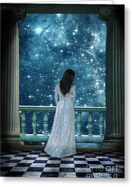 Moonlit Night Greeting Cards - Lady on Balcony at Night Greeting Card by Jill Battaglia