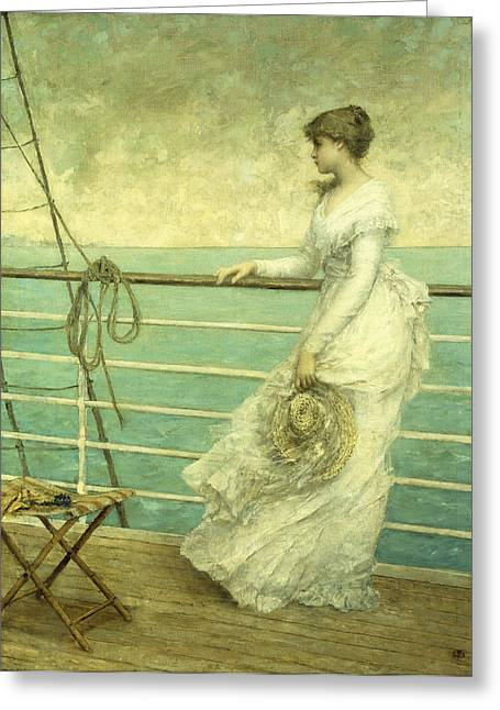 Wooden Ship Paintings Greeting Cards - Lady on the Deck of a Ship  Greeting Card by French School