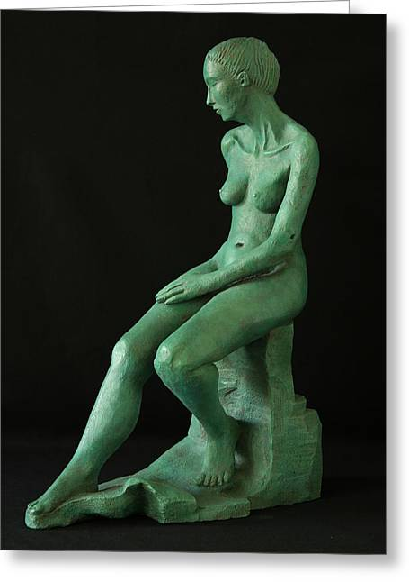 Nude Sculptures Greeting Cards - Lady on the rock Greeting Card by Flow Fitzgerald
