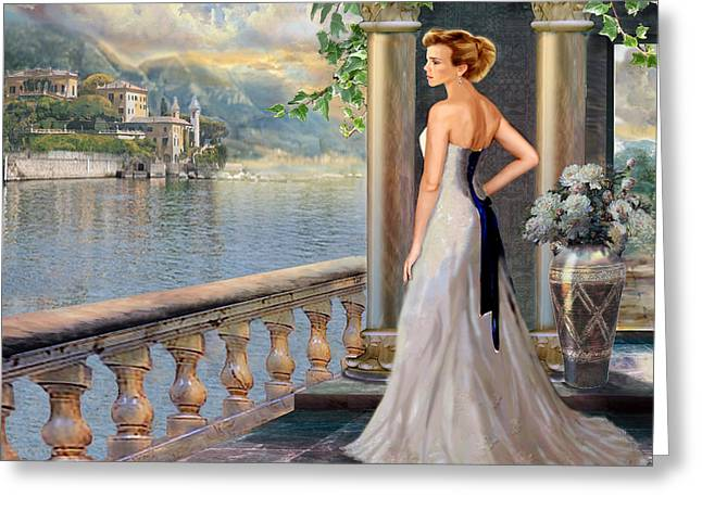 Lady In Lake Greeting Cards - Lady on the stairs by Lake Como.  Greeting Card by Gina Femrite